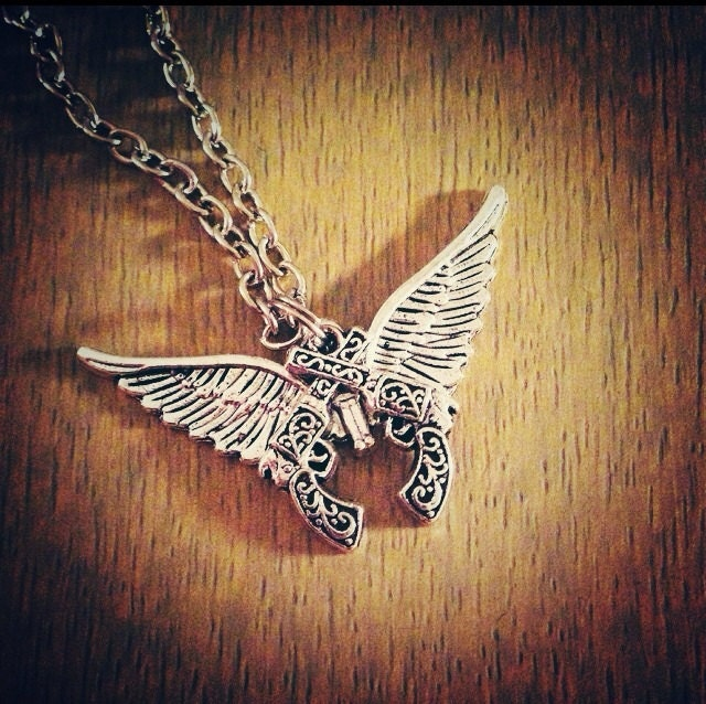 Gun with Wings Necklace Crossed Pistols Necklace Winged Guns