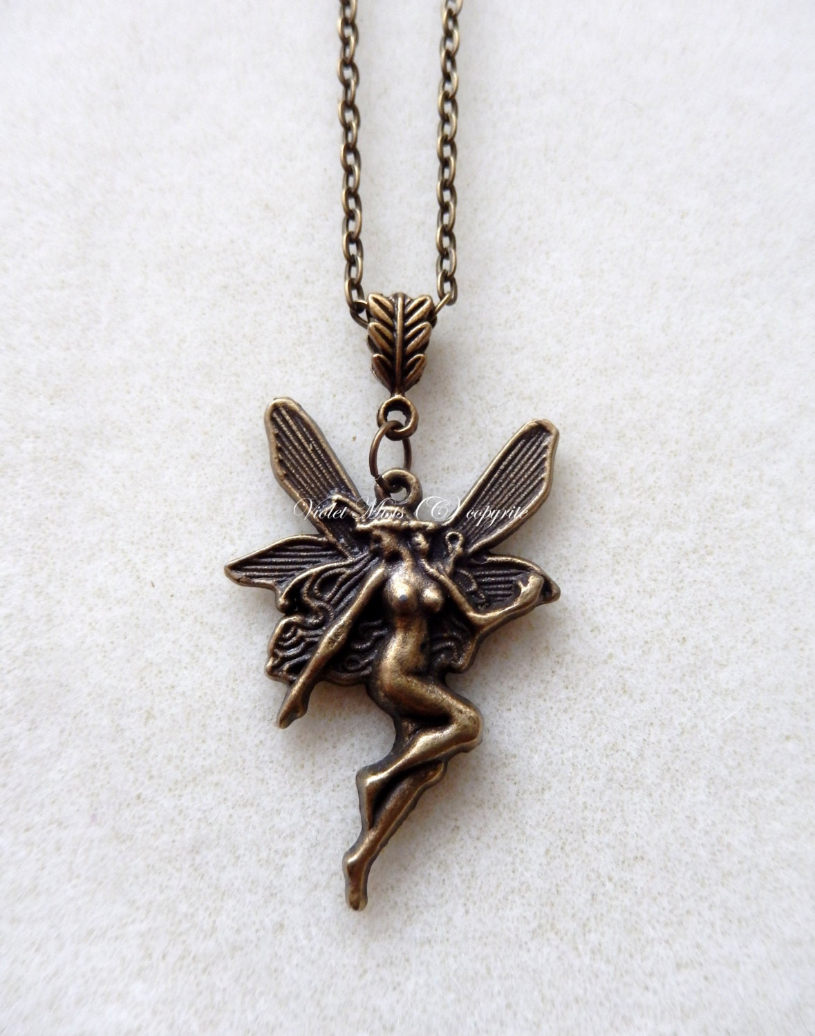 """Bronze Fairy with Leaf Bail Necklace 16"""" Chain steampunk buy now online"""