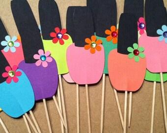 Spa Party Cupcake Toppers - Nail Polish Cupcake Toppers - Spa Party - Girls Spa Party - Cupcake Toppers Set of 12