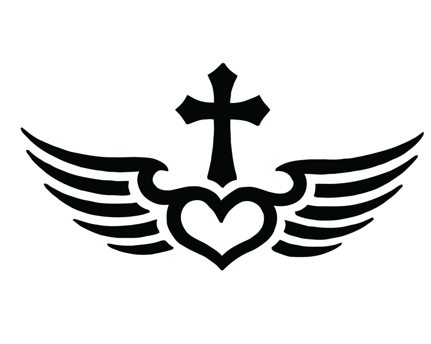 fly with christ cross decal christian jesus cross heart