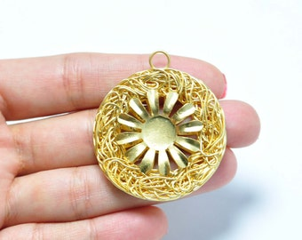 1 Piece Gold Plated Wire Wrapped Pendant, Jewelry Findings, Jewelry Making Supplies