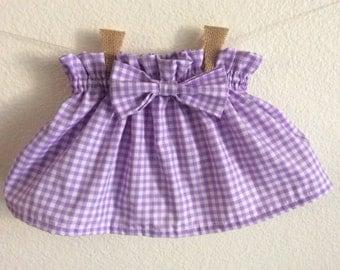 Purple gingham paper bag skirt