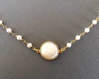 Pearl Necklace, Freshwater Pearl Gold Necklace, Hand Wrapped Pearl Chain Necklace, Pearl Chain
