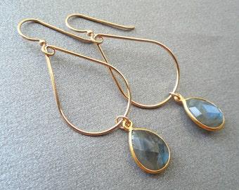 Labradorite Teardrop Gold Earrings, Teardrop Wire Dangle, Faceted Labradorite  Earrings