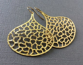Large Gold Earrings, Teardrop Gold Earrings