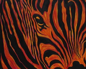 Zebra- Art- Print- Funky- Modern- Trippy- Abstract- Safari- Psychedelic- Decor- Surreal- Red- Orange- 11x14