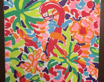 Hand painted Lilly Pulitzer inspired canvas - LuLu