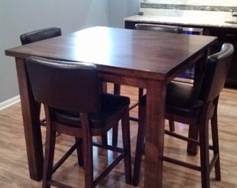 Solid Maple Pub Table Custom Made Handcrafted Pictured