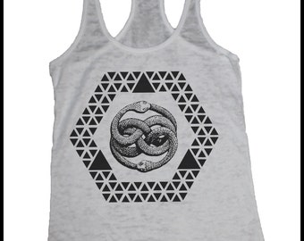 Geometric Ouroboros Burnout Racerback Tank Top with Hexagon Triangles and Pyramids