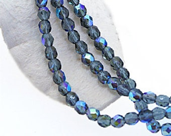 Montana Blue AB 4mm FirePolish, Faceted Round Firepolished Czech Glass Beads x 50