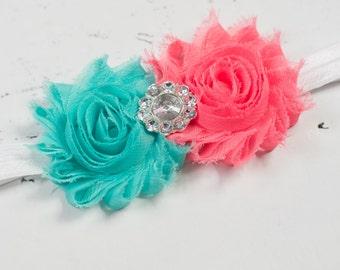 Coral Aqua Baby Rosette headband- Baby Headband-Shabby Chic Flower Headband-Baby Girl Headband-Newborn Headband-Baby Hairbow-Headband