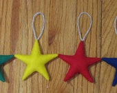 Ornament Set ~ Elemental Star ~ Yule, Christmas Tree Decoration ~ Red, Blue, Green and Yellow