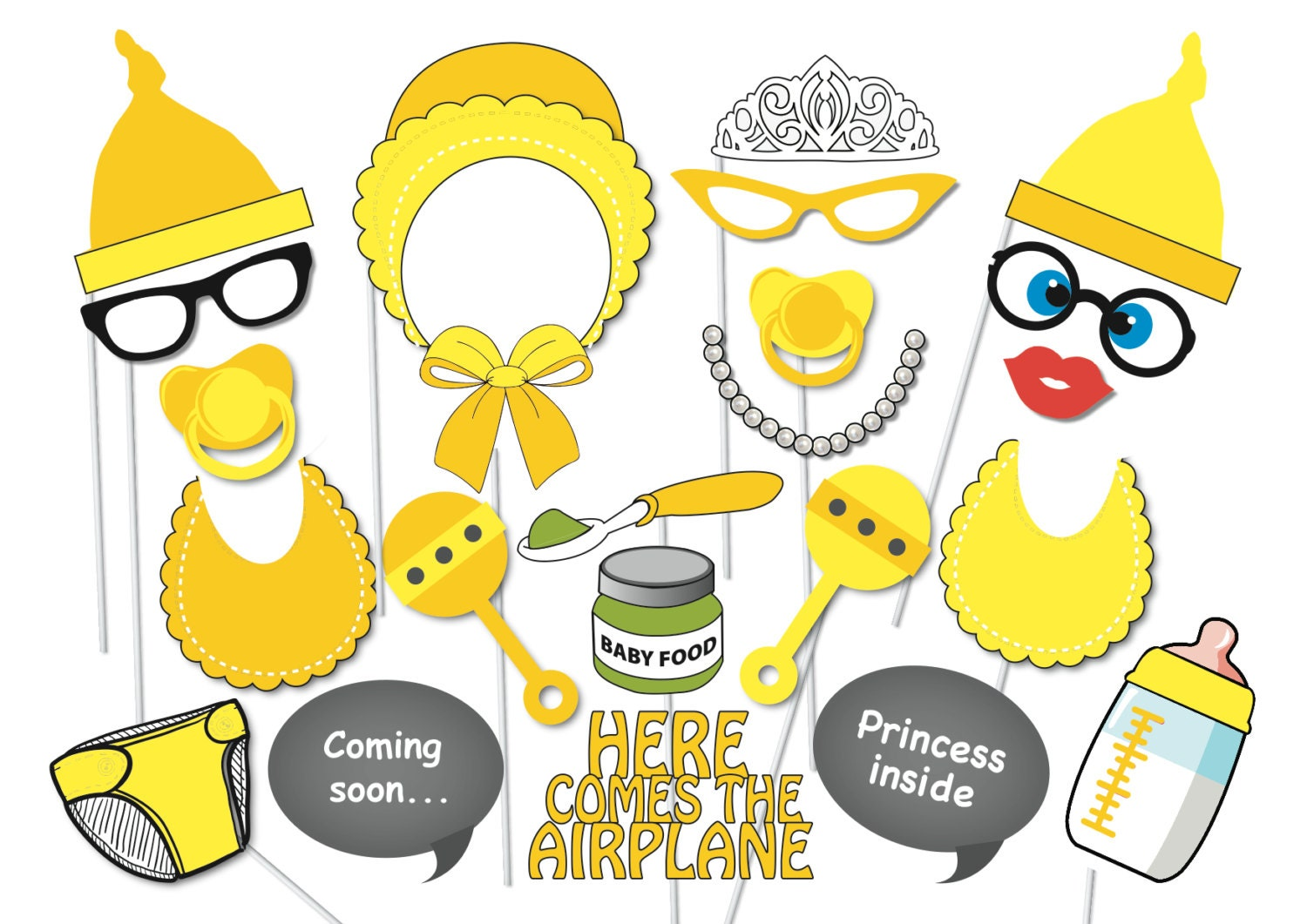 girl baby shower photobooth party props set 22 piece