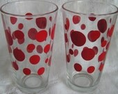 CIJ SALE 50% Off -- 2 Vintage Large Red Dot Glasses Tumbler by Libbey Glass Mad Men Mid Century