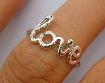 Solid Sterling Silver Love Ring All Sizes