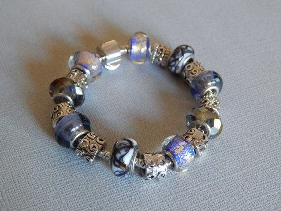 lovely add a bead bracelet in cool tones and silver tone