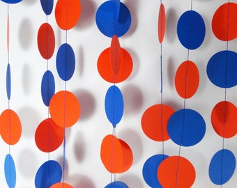 Party Paper Circle Garland,Orange & Blue, Birthday Party, Party Decoration, Shower, 12'