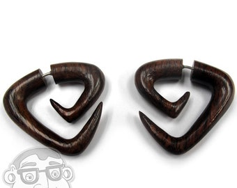 Sono Wood Fake Gauge Tri Point Spirals Tribal Earrings (19G - 0.9mm) - New!