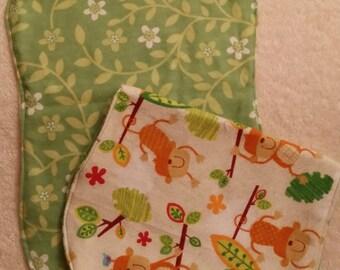 Monkey burp cloths, Handmade, flannel Burp Cloths, Vine Burp cloth, set of 4, vine and flower back, baby shower gift, multi color