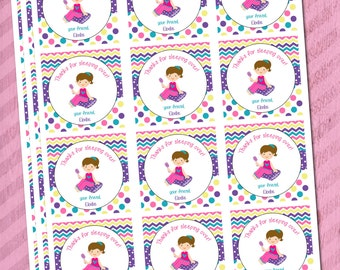 Sleepover Party Favor Tags Girl's Sleepover Party Favor Tag