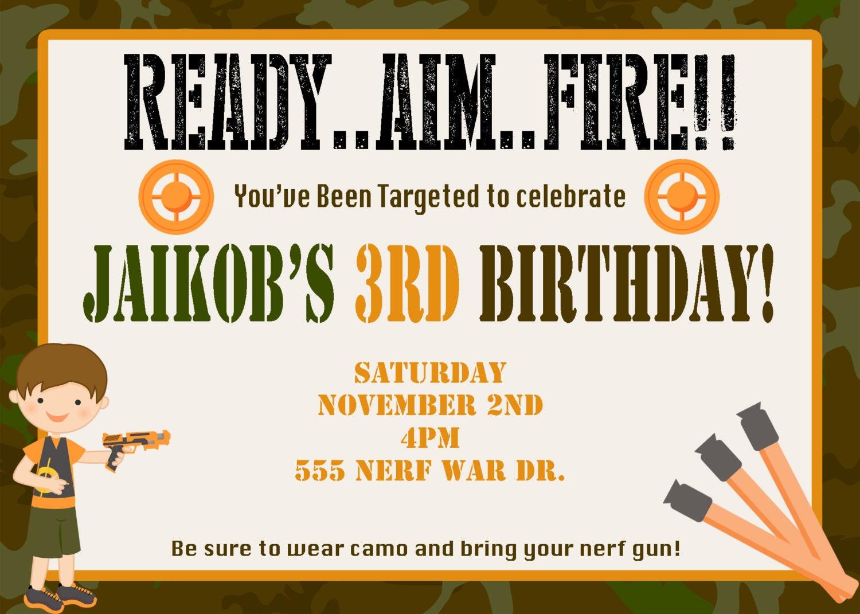 Boys Dart Tag Invitation Dart Tag Invite Laser Invitation – Nerf Gun Birthday Party Invitations