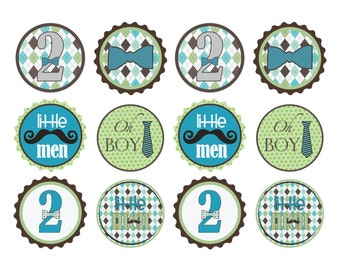 Little Man Birthday Cupcake Toppers