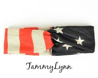 USA Flag Headband Patritoic America Fourth of July Stars & Stripes Military Women's Accessories Gift Idea TammyLynn