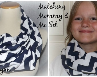 Mommy & Me Navy Oxford Blue and White Chevron Infinity Scarf READY to SHIP Scarves Jersey Knit Soft