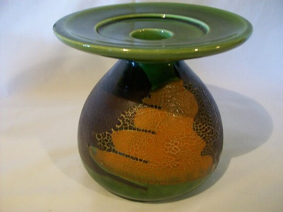 Vintage Royal Haeger Pottery Green Brown Orange Earth Wrap Orange Peel Candlestick Holder