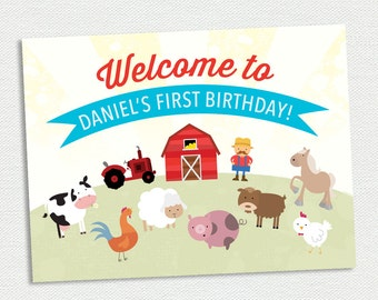 Printable Birthday Party Welcome Sign - Door Sign - Farm Animal Birthday Party - Customizable