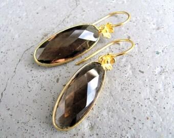 Smoky Quartz Earrings with Gold Vermeil / Smokey Quartz / Gold Vermeil Earrings