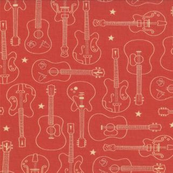 Guitar Fabric Honky Tonk By Eric And Julie Comstock For Moda