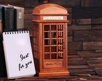 Personalized Music Box of Vintage England London British Phone Booth (024590)