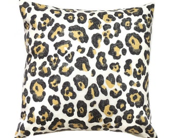 Leopard Pillow Cover, Decorative Throw Pillow, 16x16 Pillow Cover, Cushion Cover, Toss Pillow Covers, Paramount Shadow