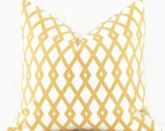 Yellow Geometric Pillow, 16x16 Pillow Cover, Gold Throw Pillow Covers, Decorative Pillows, Cushion Cover, Robert Allen Best Fret Butter