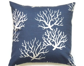 Blue Coral Pillow Cover, 24x24 Pillow Cover, Coastal Nautical Cushion Cover, Lake Beach House Summer Decor, Isadellla Premier Navy Slub