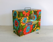 mod metal file box // flower power // vintage office // 1960s - 1970s - umbrellafant