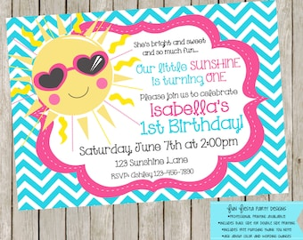 Little Miss Sunshine invitation and thank you notes set