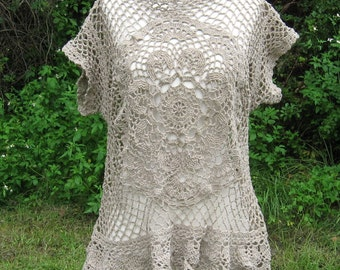 Brown Crochet Doily Shirt
