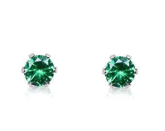 Genuine Emerald and surgical steel stud earrings in either 3mm, 4mm, 5mm or 6mm sizes!
