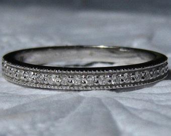 White Gold Milgrain Diamond Wedding Band