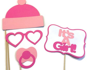 Girl Baby Shower Photo Booth - 4 Piece Photo Booth Prop Set