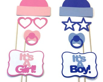 Gender Reveal Baby Shower Photo Booth - 8 Piece Photo Booth Prop Set