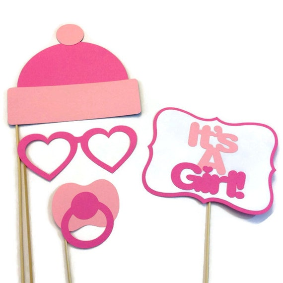Girl baby shower photo booth 4 piece photo booth prop set - Photo baby shower ...