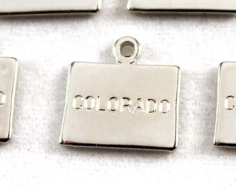 2x Silver Plated Engraved Colorado State Charm - M072-CO