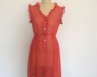 Vintage red with with polka dot sheer dress