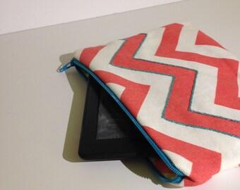 SALE! Coral and Turquoise Chevron ereader sleeve / iPad Mini sleeve / Kindle sleeve