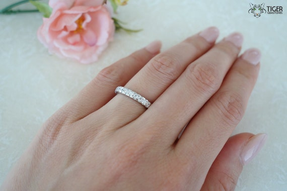 white low ct eternity shared bands diamond basket pave wb prong band