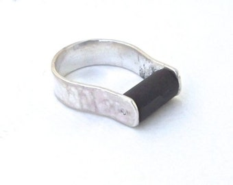 Ebony silver ring