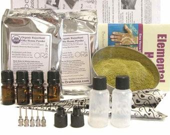 Ultimate Henna Tattoo Starter Kit 200 gm Henna Powder, Oil, Applicator Bottles, Transfer Paper, Book
